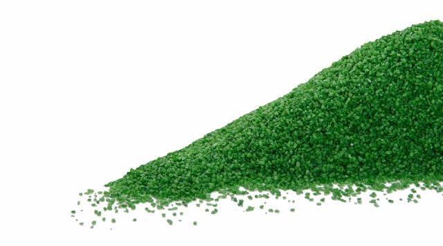 Dekorační štěrk zelený, hrubost: 1–1,5 mm, balení: 0,5kg